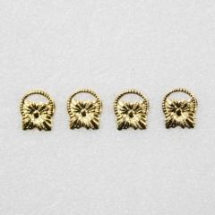 1119-Brass Sq Drawer Pull 4pc-미니어쳐용
